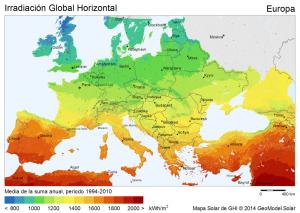 mapa solar de europa
